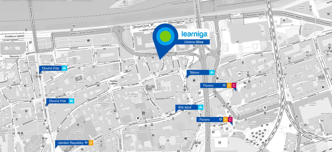 Mapa - učebna Oliva - Klimentská ulice